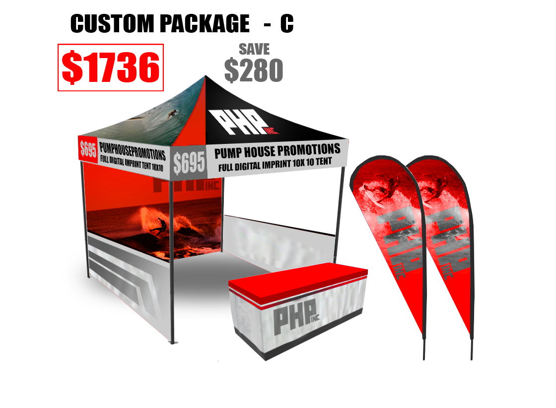 10x10, commercial grade, tent, full, digital, imprint, Full, Color, free, table, cover, package, deal, Save, Money, Promotional, Products, teardrop flyer, banner, backwall, free, tablecover, sidewall, halfwalls, halfwall, fulldigital