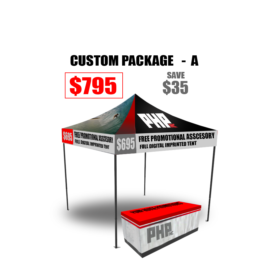 10x10, commercial grade, tent, full, digital, imprint, Full, Color, free, table, cover, package, deal, Save, Money, Promotional, Products,